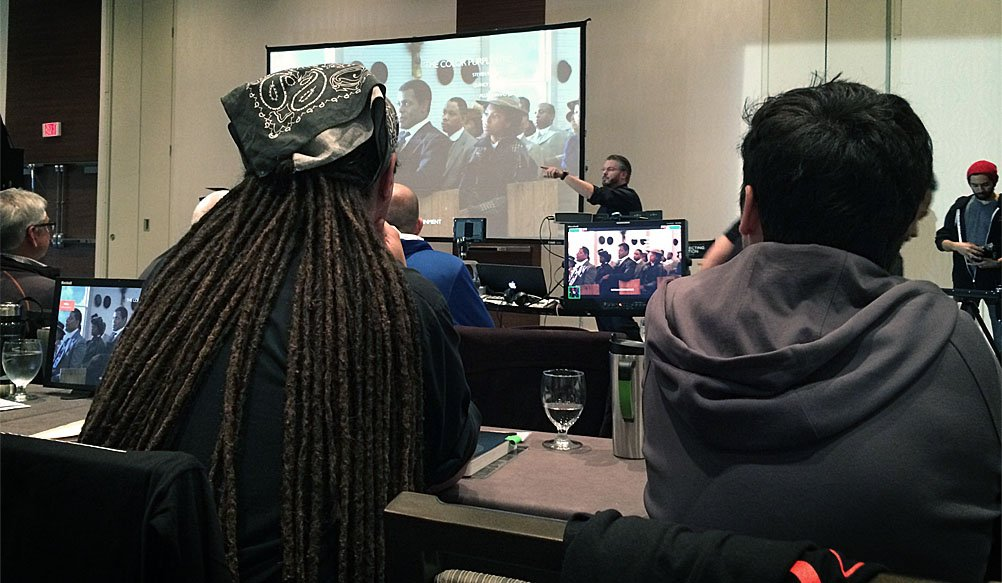 Vincent Laforet showing students examples of great cinematography at his Directing Motion Class in Vancouver.